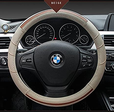 15 Genuine Leather Brown HCMAX Premium Vehicle Steering Wheel Cover Quality Comfy Car Steering Wheel Protector Universal Diameter 38cm