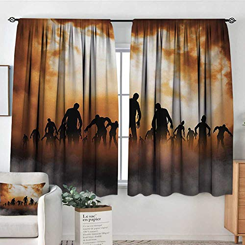 Halloween Custom Curtains Zombies Dead Men Walking Body in The Doom Mist at Night Sky Haunted Theme Print Kid Blackout Curtains 55