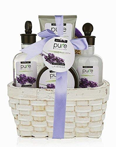 Super Large Lavender Spa Gift Basket with Lavender Essential Oils!Bubble Bath & Body Lotion Gift Set for Women. Valentines Gift Baskets for Women with Lavender Essential Oils! Best Holiday Gift Set