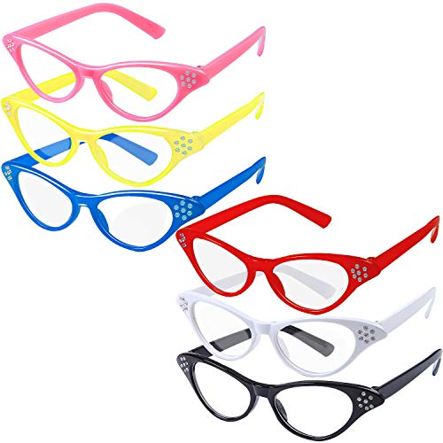 Aneco 6 Pack Cat Eye Glasses with Rhinestones Retro Glasses 50's 60's Theme Party Classic for Women and ()