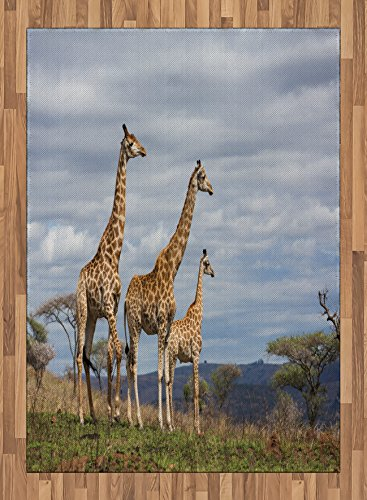 Africa Area Rug by Ambesonne, African Giraffe Family Looking at the Skyline in Savannah Grassland with Shrubs Print, Flat Woven Accent Rug for Living Room Bedroom Dining Room, 5.2 x 7.5 FT, Tan Blue by Ambesonne