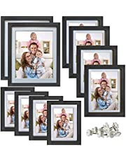 Giftgarden Multi Picture Frames Set, Black Photo Frame for Multiple Photos, matted, 10 Pcs, Two 8x10, Four 4x6, Four 5x7