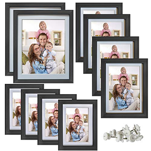 Giftgarden Multi Picture Frames Set Black Photo Frame for Multiple Photos, 10 Pcs, Two 8x10, Four 4x6, Four 5x7 ()