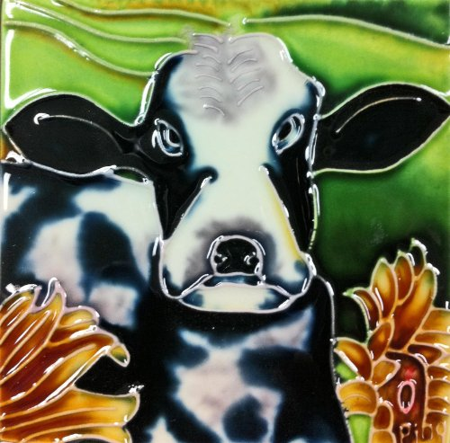 - Continental Art Center SD-079 4 by 4-Inch Cow Ceramic Art Tile