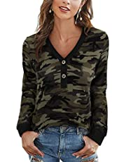 FNJJLU Womens Tops Knit Button Tops Loose Long Sleeve Shirts Leopard V Neck Shirts Comfy Casual Blouses Sweaters
