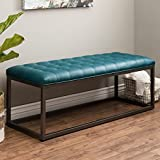 ModHaus Living Mid Century Modern Button Tufted Teal Bonded Leather Bench with Metal Legs Includes (TM) Pen