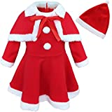 CHICTRY Infant Baby Girls Christmas Santa Claus Costume Dress with Shawl Hat Outfits