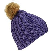 Childrens Girls Cable Knit Faux Fur Pom Pom Winter Beanie Hat (One Size) (Purple)
