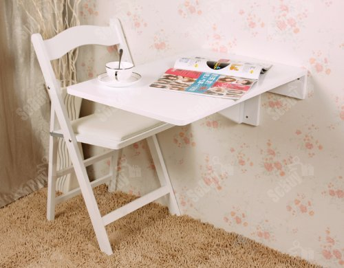 Haotian Wall-mounted Drop-leaf Table, Folding Kitchen & Dining Table Desk, Solid Wood Children Table, 27.5inch×17.7inch, FWT04-W (WHITE)) by Haotian