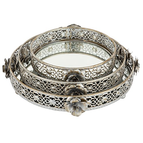 Madeleine Vintage Silver Round Mirror Decorative Tray Set of 3, Metal Ornate Accent Vanity Food Display Serving Platter Mirror Tray Set