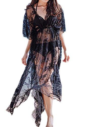 Vivilover Womens Lace Plus Size Swimsuit Coverup Beach Maxi Long Dress (black)