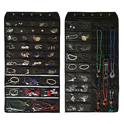 Btromeshy Hanging Jewelry Organizer,Double Sided 56 Pockets and 9 Hook Loops for Holding Jewelry (Black) from Btromeshy