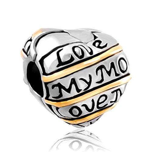 Silver Plated Heart Love My Mum Clip Lock Stopper Bead Fits Pandora Bracelet