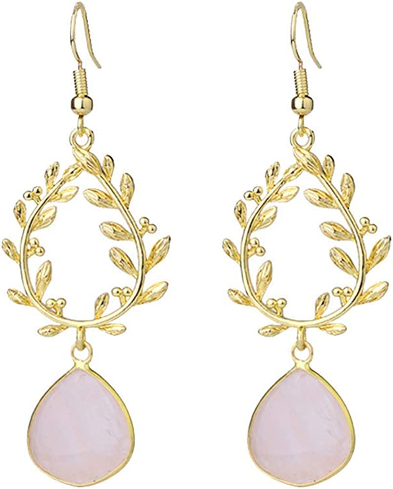Purmy Cuarzo rosa Cristal curativo Las mujeres cuelgan los pendientes