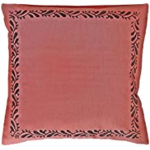 "Saffron 76x76 cm Decorative Cushion Cover Pillow Case Coral Orange Polyester Silk Block Print 30x30"" CUSHION COVER ONLY, Insert Not Included"