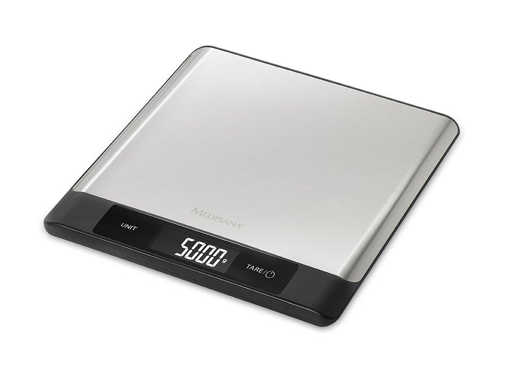 Medisana Báscula Digital de Cocina de Acero Inoxidable, PesoCocinaTaraingredientescristal 5 KgKilogramosMililitrosSano, 20.20 x 21.80 x 1.60 cm: Amazon.es: ...
