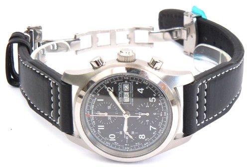 Negro correa de reloj de aviador Hecho a mano 22mm de cuero en el cierre desplegable de relojes Hamilton: Amazon.es: Relojes