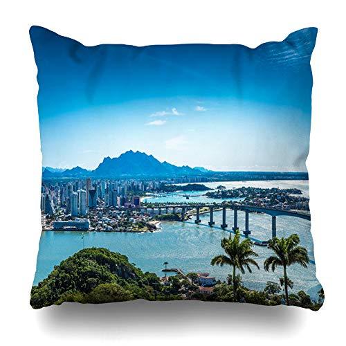 - Ahawoso Throw Pillow Cover Square 16x16 View Blue Amazing Aerial Vitoria Espirito Santo Panoramic Brazil Green City Stunning America Tour Zippered Cushion Case Home Decor Pillowcase