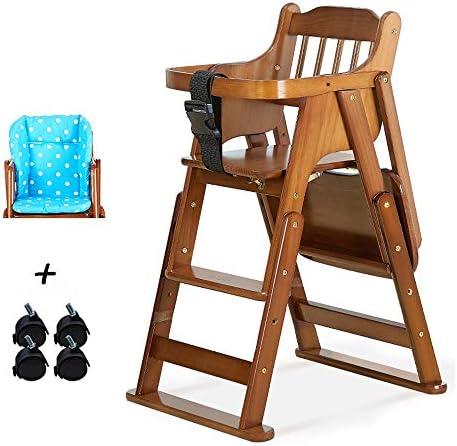 BABYQQ 多機能高さ折り畳み式木製の引き出し式ハイチェアーベビー、天然松材/ 0.5-10歳