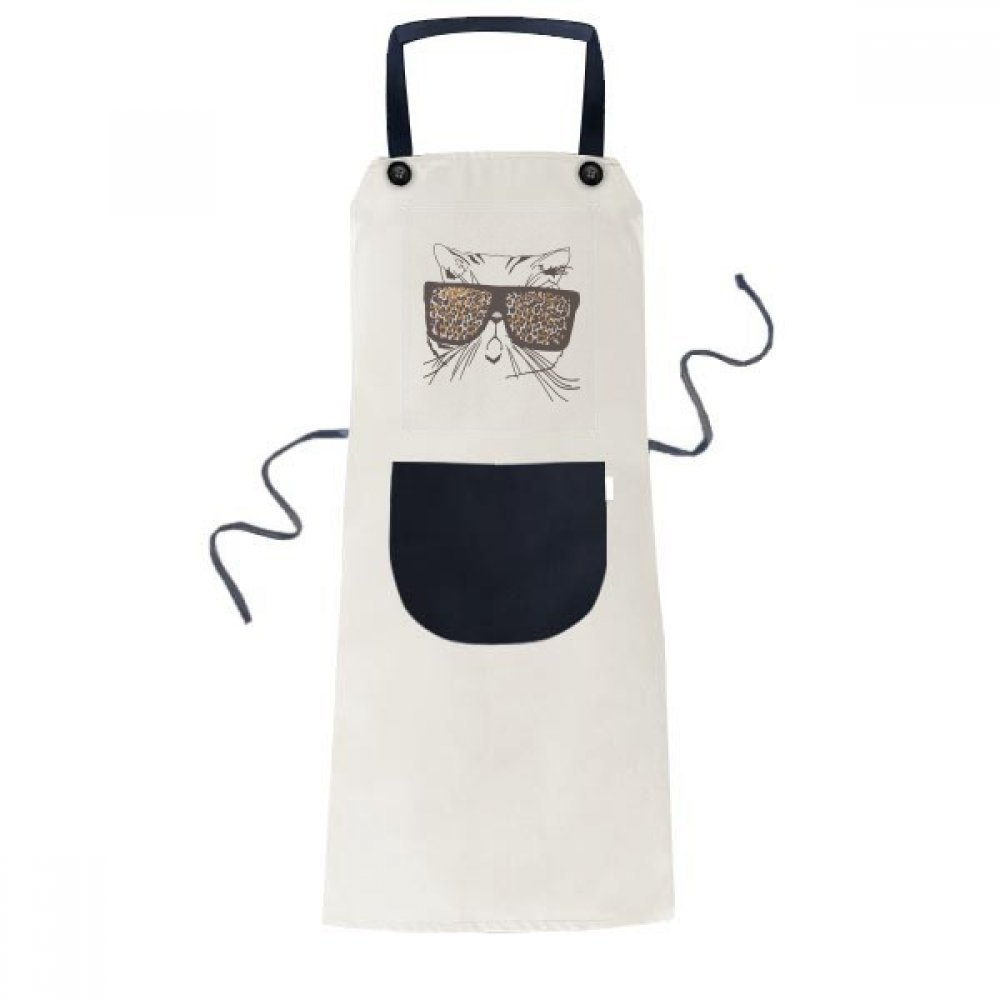 DIYthinker Leopard Print Sunglass Cat Head Animal Apron Cooking Bib Black Kitchen Pocket Women Men