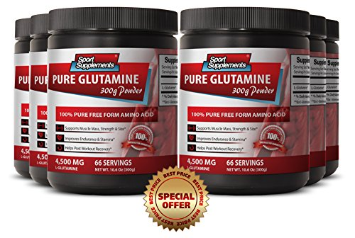 L glutamine with zinc - L Glutamine 300 G Powder - Enhances protein synthesis (6 Bottles)