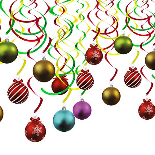 Christmas Decorations Office (ANPHSIN 30 Count Christmas Hanging Swirls Decoration- Cute Xmas Party Flat Ball Swirl Decor for Window Porch at Home Mall and Office)