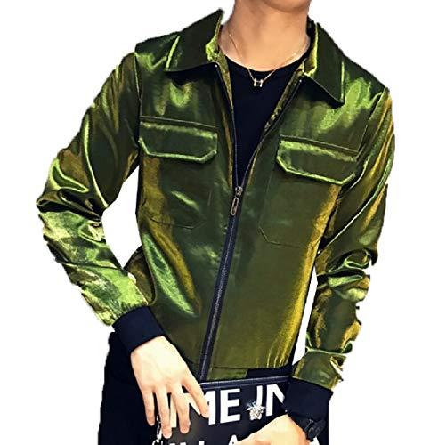 Front Long Bomber Green Men's Gocgt Coat Zipper Jacket Metallic Sleeve pIaUq