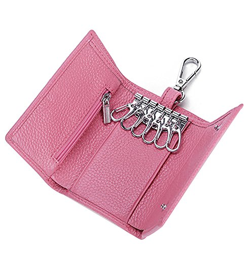 HOLLY TRIP Unisex Compact Premium Leather Key Case Wallet Keychain Key Holder Ring with 6 Hanging Buckle Hooks Snap Closure, Pink by HOLLY TRIP
