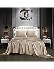 Chuyouhome Satin Sheets Set Bedding Sheet & Pillowcases Set - Deep Pocket Satin Sheet Set with 1 Fitted Sheet, 1 Flat Sheet and 2 Pillow Cases - Breathable & Cooling, Sily Mattress Sheet Set - 4 Piece