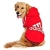 Eastlion Large Dog Warm Hoodies Coat Clothes Sweater Pet Puppy T Shirt Red 3XL