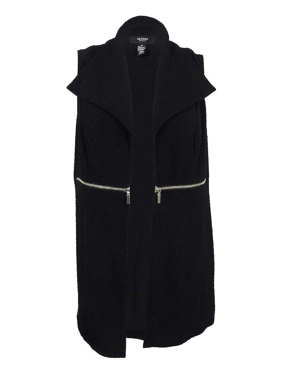 Alfani Womens Textured Vest S, Deep Black