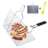 Aiflyme Portable BBQ Grilling Basket with Foldable Handles, Stainless Steel Barbeque Grill Basket with Storage Bag, Outdoor BBQ Tools for Meats, Fishs, Seafoods, Vegetables and Other Foods