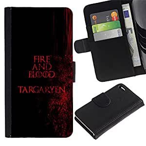 Protector de cuero de la PU de la cubierta del estilo de la carpeta del tirón BY RAYDREAMMM - Apple Iphone 4 / 4S - Fuego y Sangre Targaryen