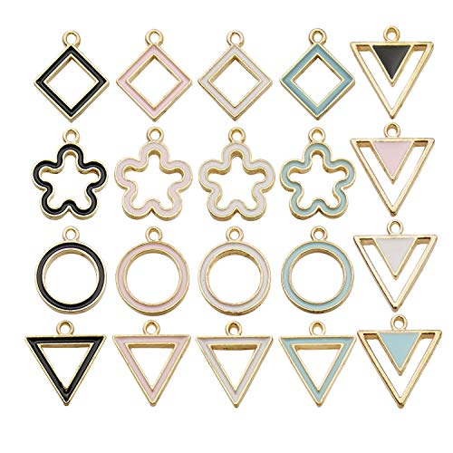 (Youdiyla 40 Geometry Enemal Charms Collection, Gold Plated, Square Triangle Round Circle Flower Shaped Charms Metal Pendant Craft Supplies Findings for Necklace and Bracelet Jewelry Making (HM301) )