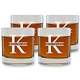 Personalized scotch Glasses Set of 4 by Froolu Customized Scotch Heavy Base 8 oz. Rocks Glasses Housewarming Gift