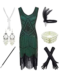 1920s Gatsby Sequin Fringed Paisley Flapper Dress with 20s Accessories Set (M, Green)
