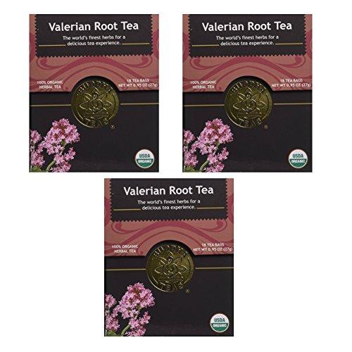 Organic Valerian Root Tea - Kosher, Caffeine Free, GMO-Free - 18 Bleach Free Tea Bags(Pack of 3)