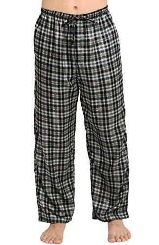 Del Rossa Men's Satin Pajama Pants, Long Pj Bottoms, Large Black and Brown Plaid (A0757P49LG)