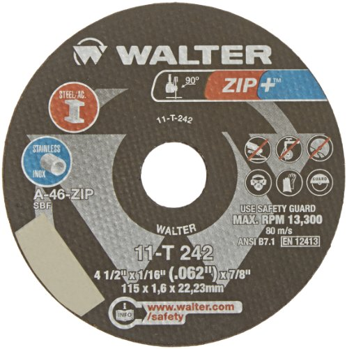 Walter ZIP+Xtra Cut-off Wheel [Pack of 25] - Type 1, Alumina Zirconia Reinforced Cutting Wheel with Ribbed Design, Round Hole by Walter Surface Technologies (Image #1)