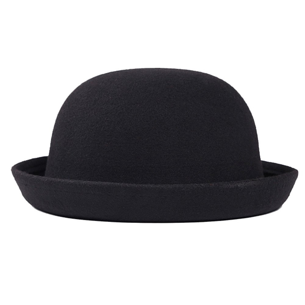 doublebulls hats Boater Bowler Hat Women Men Autumn Winter Felt Plain Classic Derby Hat Multicolor DH1539A