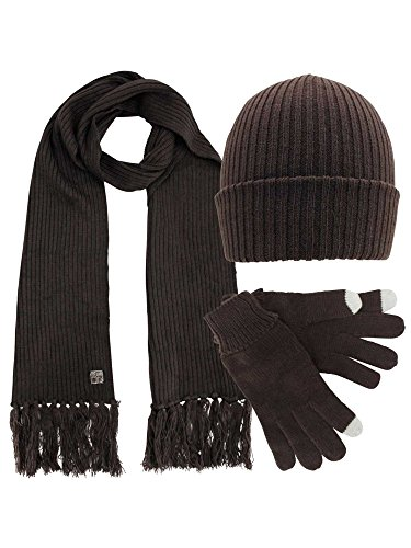 Ribbed Knit Mens 3 Piece Hat Scarf & Texting Gloves Set