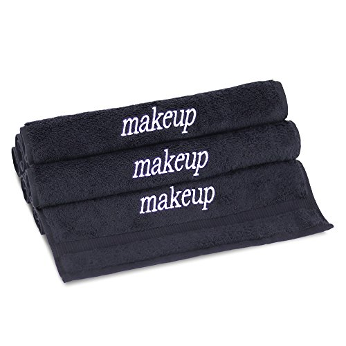 Towel Bazaar 6-Pack 100% Turkish Cotton Wash Cloths, Multi-purpose, Lightweight, Durable, Machine Washable Makeup Cleansing Face Towels, Dobby Border (13x13 Inch, Black)