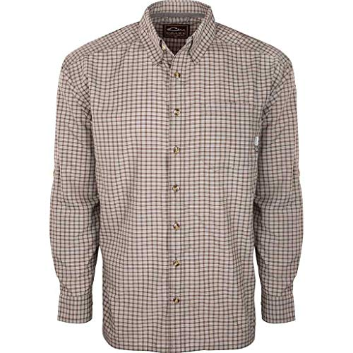 Drake Men's Featherlite Check Long Sleeve Shirt, Chocolate Brown, ()
