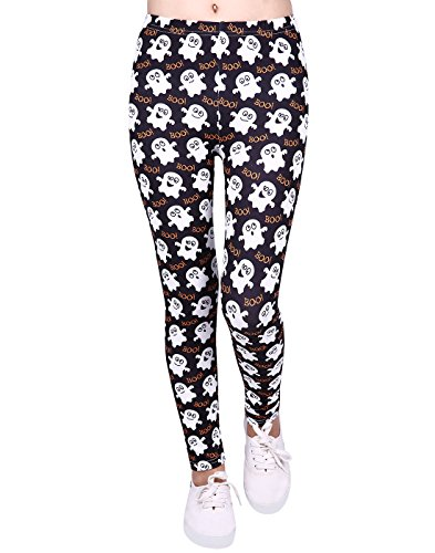 Halloween Leggings for Girls Kids Cute Ghost Ghoul Print Pants]()
