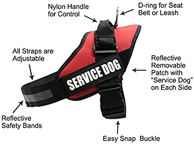 AMZNOVA Reflective Service Dog Harness,Adjustable Dog Vest Harness with reflective Velcro patches