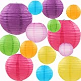 E-MANIS 14Pcs Multicolor Paper Lanterns 12'' 10'' 8'' 6'' 5'''Inches Round Lanterns for Birthday Wedding Christmas Party Decorations Colorful