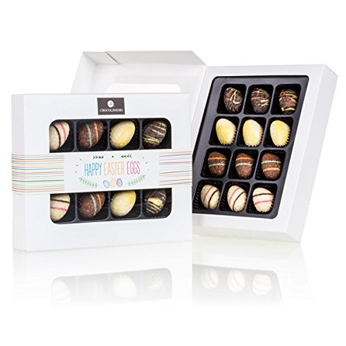 Happy Easter 12 Eggs - 12 gefüllte Schoko-Ostereier | Ostergeschenk | Ostern Schokolade | Schokoladeneier | Osterpralinen | Mann | Frau | Frauen | Männer