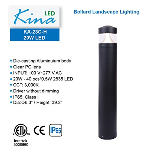 LED 20W Bollard Landscape Light - by Kina LED, CCT 3,000K, Driver without dimming, 100-277V