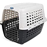 Petmate 41034 Compass Plastic Pets Kennel with Chrome Door, Metallic White/Black