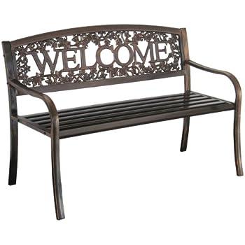 metal outdoor sofa amazoncom metal welcome bench outdoor benches garden outdoor